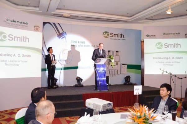 Ngày 11/3, Tập đoàn A. O. Smith đã chính thức cho ra mắt sản phẩm máy lọc nước A. O. Smith tại thị trường Việt Nam.