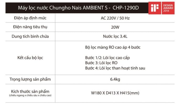 Máy lọc nước Chungho Ambient S CHP-1290D Hàn Quốc