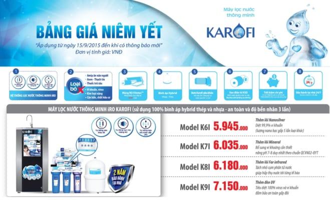 Bảng báo giá máy lọc nước karofi 2018 mới nhất!