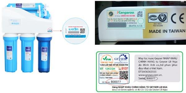 Hình ảnh tem xác thực hàng chính hãng trên sản phẩm máy lọc nước tốt