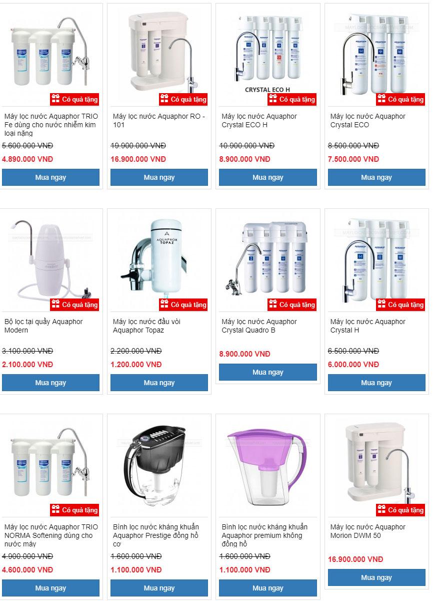 Giá Bảng Báo Giá máy lọc nước Aquaphor